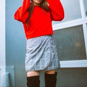 Plaid Skirt With Tie